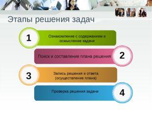 Этапы решения задач Ознакомление с содержанием и осмысление задачи Поиск и со
