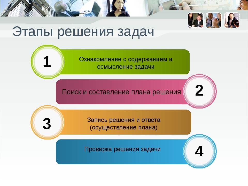 Этапы решения задач Ознакомление с содержанием и осмысление задачи Поиск и со...