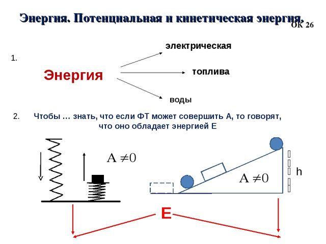 Энергия. Потенциальная и кинетическая энергия. ОК 26 1. 2. Чтобы … знать, что...