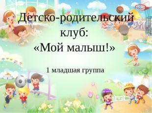 Детско-родительский клуб: «Мой малыш!» 1 младшая группа