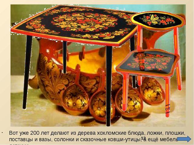 Вот уже 200 лет делают из дерева хохломские блюда, ложки, плошки, поставцы и...