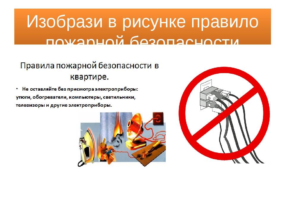 Изобрази в рисунке правило пожарной безопасности