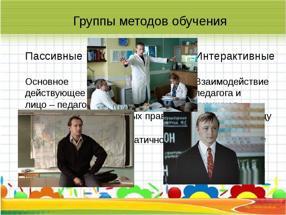 Группы методов обучения Пассивные Основное действующее лицо – педагог, учащи...