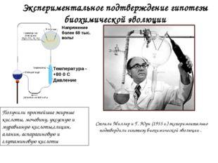 Экспериментальное подтверждение гипотезы биохимической эволюции Стэнли Миллер