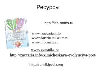 Ресурсы http://life-notes.ru www. cymatika.ru  www. zaccaria.info www.darwin