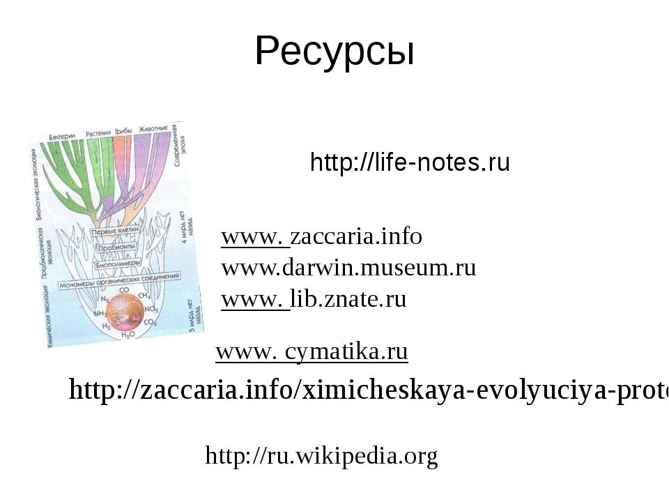 Ресурсы http://life-notes.ru www. cymatika.ru  www. zaccaria.info www.darwin...