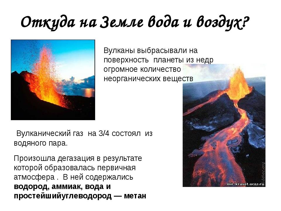 Откуда на Земле вода и воздух? Вулканический газ на 3/4 состоял из водяного п...