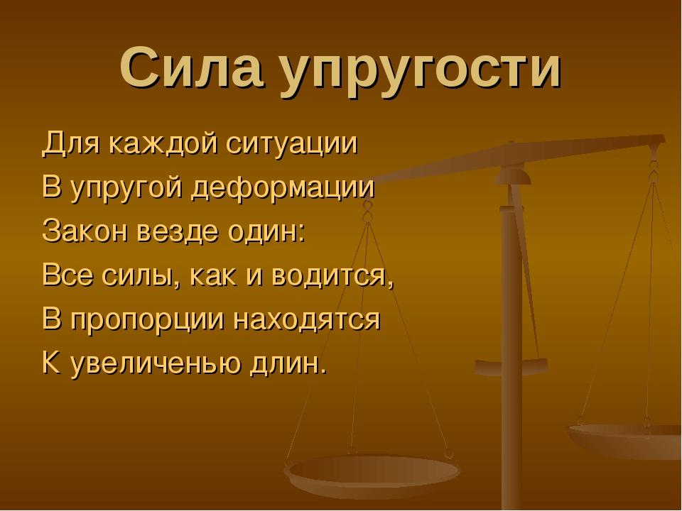 Сила упругости Для каждой ситуации В упругой деформации Закон везде один: Все...