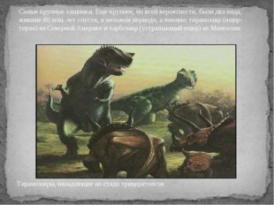 Тиранозавры, нападающие на стадо трицератопсов Самые крупные хищники. Еще кру