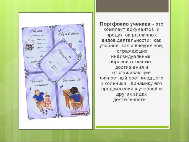 Портфолио ученика – это комплект документов и продуктов различных видов деяте...