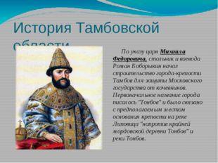 История Тамбовской области По указу царя Михаила Федоровича, стольник и воево