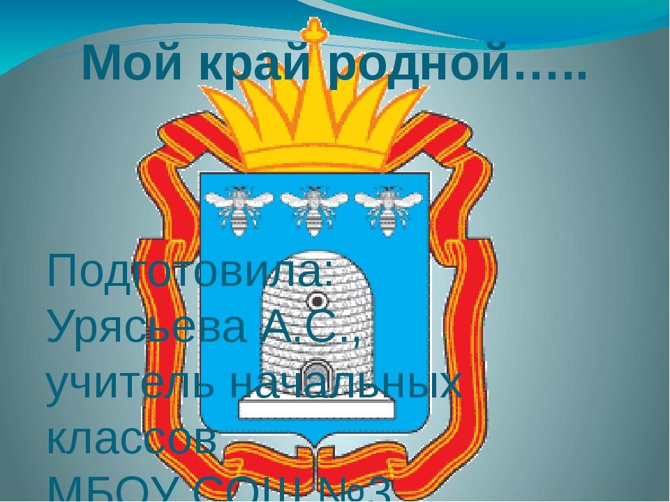 Мой край родной….. Подготовила: Урясьева А.С., учитель начальных классов МБОУ...