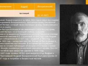 (31.10.1937) Священномученик Андрей родился 2 октября 1884 года в семье прото