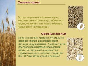 Овсяная крупа Это пропаренные овсяные зерна, с которых сняли пленочную обол