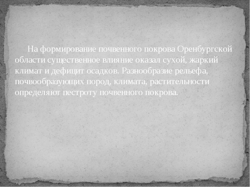 На формирование почвенного покрова Оренбургской области существенное влияние...