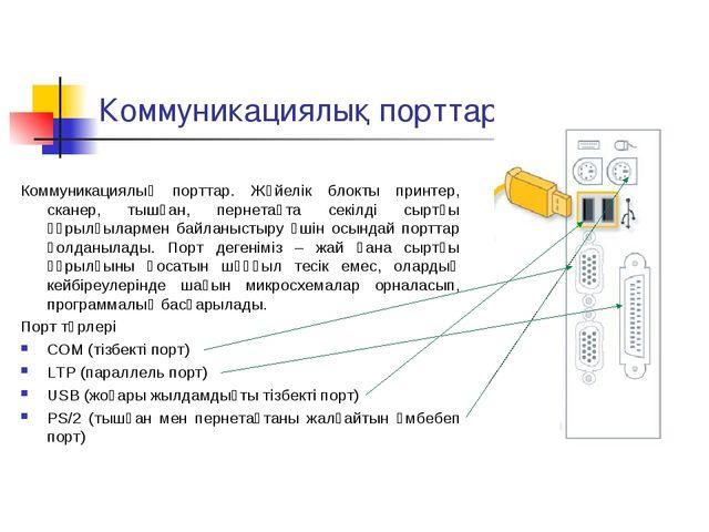 Коммуникациялық порттар Коммуникациялық порттар. Жүйелік блокты принтер, скан...