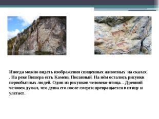 Иногда можно видеть изображения священных животных на скалах. . На реке Вишер