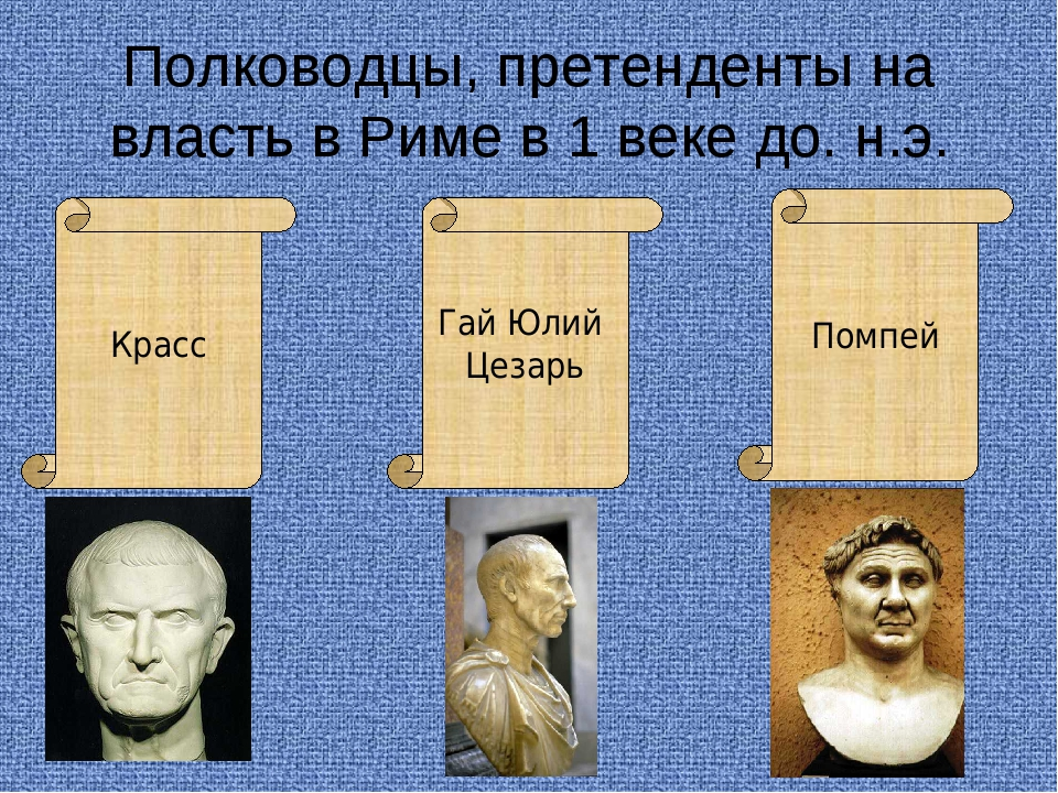 Полководцы, претенденты на власть в Риме в 1 веке до. н.э. Красс Гай Юлий Цез...