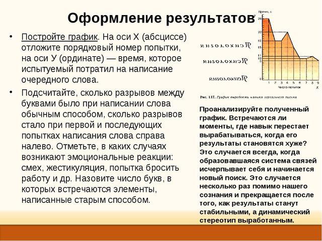Оформление результатов Постройте график. На оси X (абсциссе) отложите порядко...