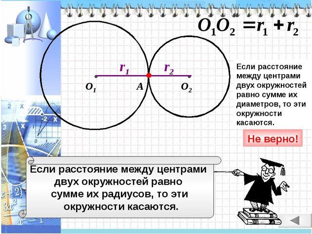 Если расстояние между центрами двух окружностей равно сумме их радиусов, то э...
