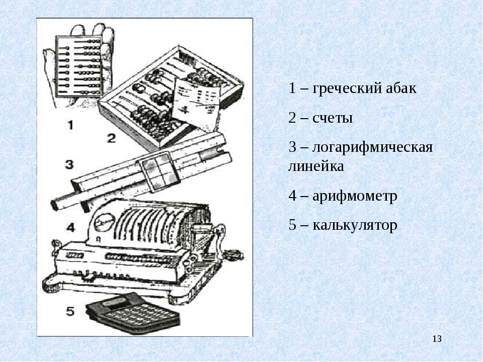 * 1 – греческий абак 2 – счеты 3 – логарифмическая линейка 4 – арифмометр 5 –...