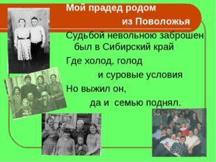Мой прадед родом из Поволожья Судьбой невольною заброшен был в Сибирский край