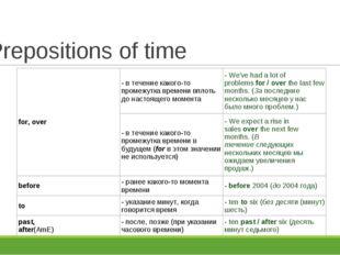 Prepositions of time for, over- в течение какого-то промежутка времени вплот