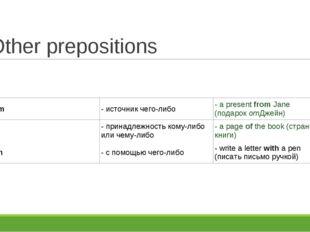 Other prepositions from- источник чего-либо- a presentfromJane (подароко