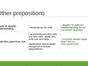 Other prepositions in spite of, despite, notwithstanding	- несмотря на что-ли