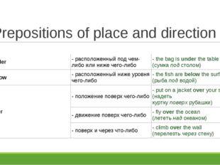 Prepositions of place and direction under- расположенный под чем-либо или ни