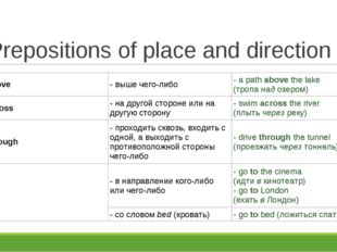 Prepositions of place and direction above	- выше чего-либо	- a path above the