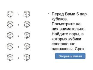 Перед Вами 5 пар кубиков. Посмотрите на них внимательно. Найдите пары, в кот