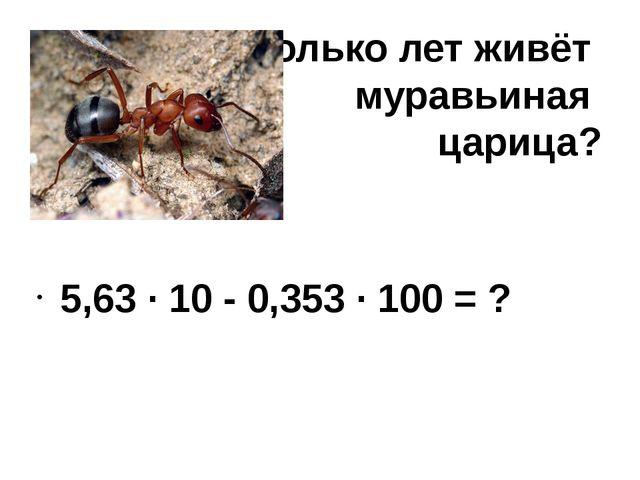 Сколько лет живёт муравьиная царица? 5,63 ∙ 10 - 0,353 ∙ 100 = ?