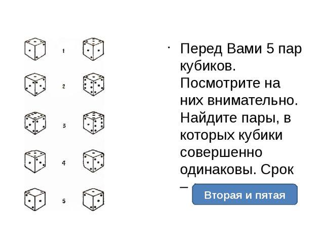 Перед Вами 5 пар кубиков. Посмотрите на них внимательно. Найдите пары, в кот...
