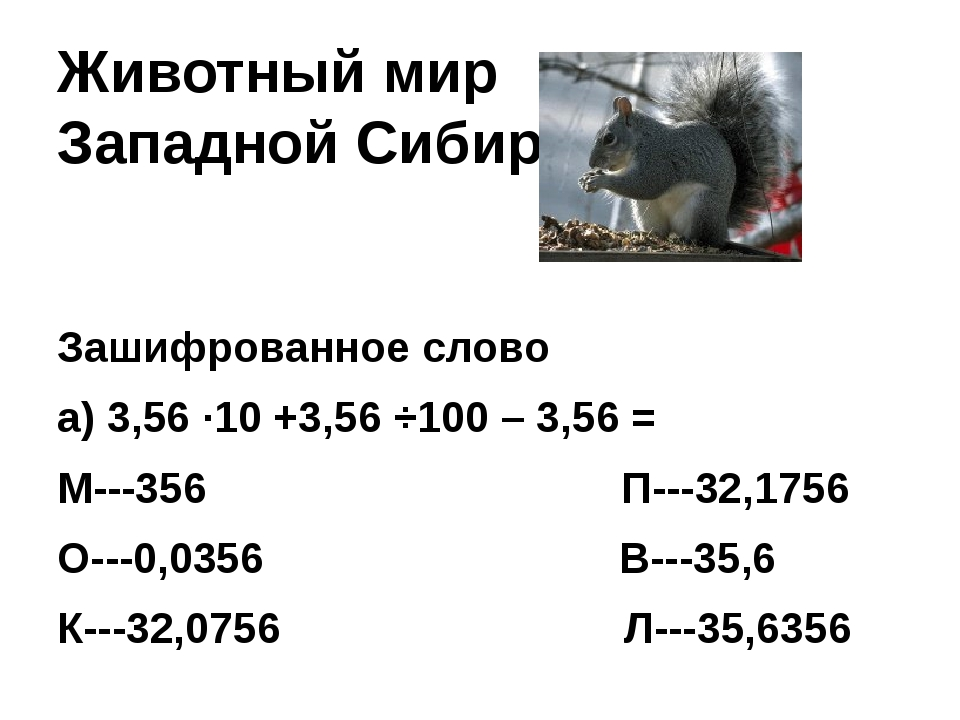 Животный мир Западной Сибири Зашифрованное слово а) 3,56 ∙10 +3,56 ÷100 – 3,5...