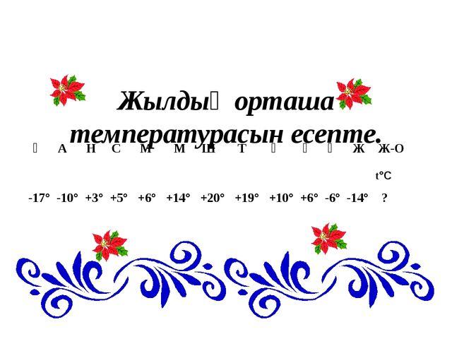 Жылдың орташа температурасын есепте. Қ А Н С М М Ш Т Қ Қ Қ Ж Ж-О -17° -10° +...