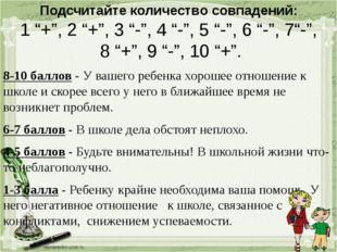 """Подсчитайте количество совпадений: 1 """"+"""", 2 """"+"""", 3 """"-"""", 4 """"-"""", 5 """"-"""", 6 """"-"""","""