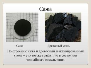 Сажа По строению сажа и древесный и активированный уголь – это тот же графит,