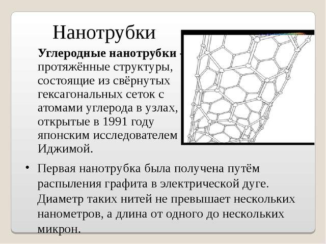 Углеродные нанотрубки - протяжённые структуры, состоящие из свёрнутых гексаг...