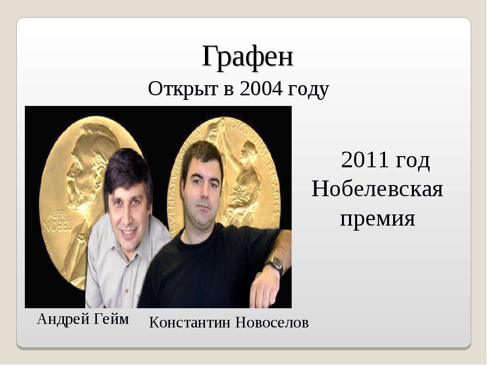 Графен 2011 год Нобелевская премия Открыт в 2004 году Андрей Гейм Константин...