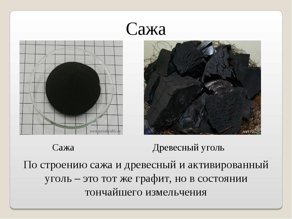 Сажа По строению сажа и древесный и активированный уголь – это тот же графит,...