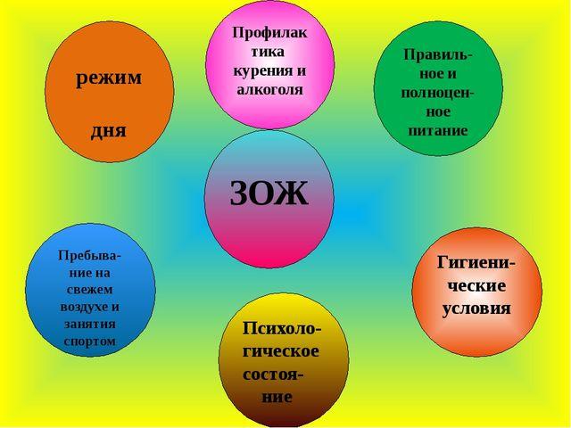 режим дня Профилактика курения и алкоголя Пребыва- ние на свежем воздухе и з...