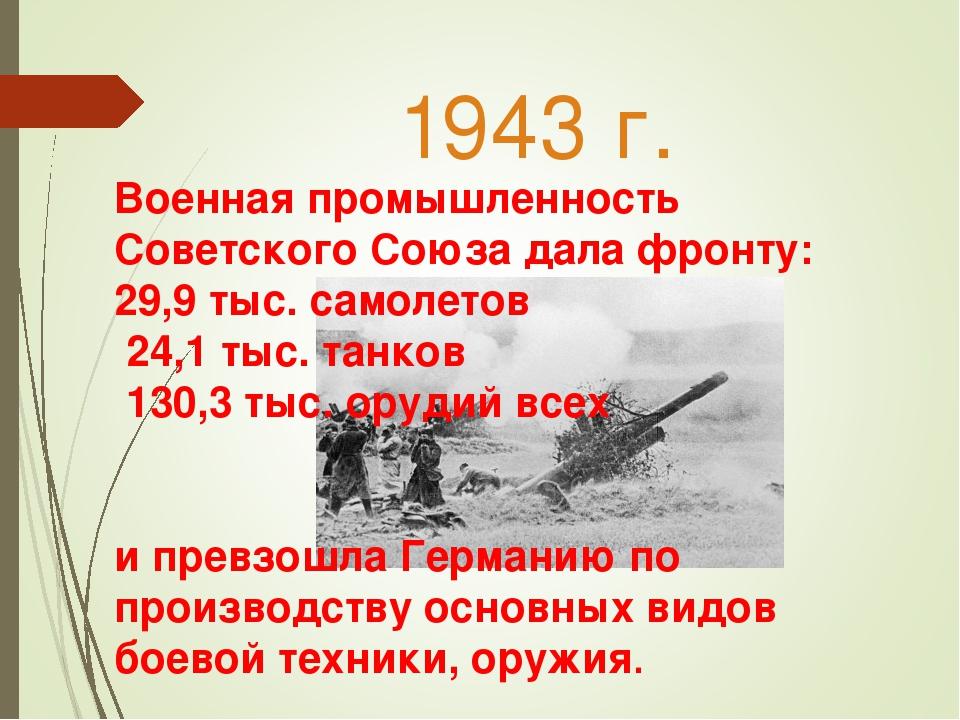 1943 г. Военная промышленность Советского Союза дала фронту: 29,9 тыс. самоле...