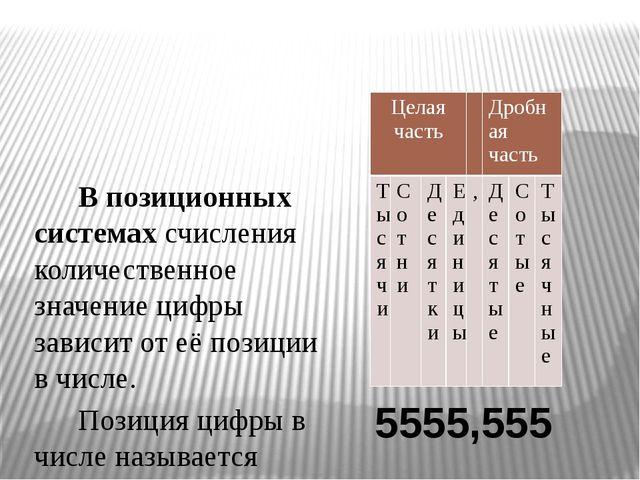 В позиционных системах счисления количественное значение цифры зависит от её...