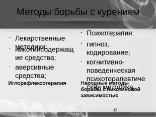 Методы борьбы с курением Лекарственные методики: никотинсодержащие средства;