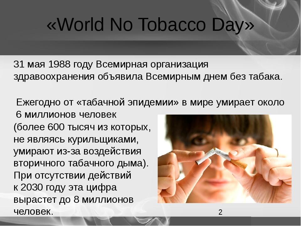 «World No Tobacco Day» 31 мая 1988 году Всемирная организация здравоохранения...