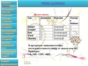 * Целые типы В программе записывается как последовательность цифр со знаком и