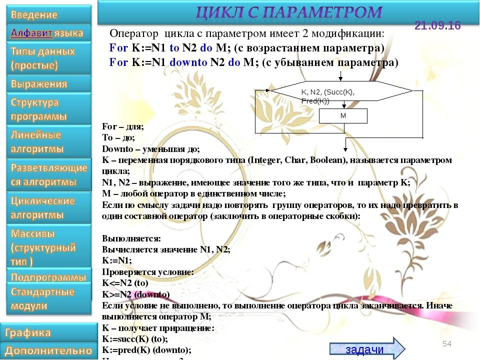 * Оператор цикла с параметром имеет 2 модификации: For K:=N1 to N2 do M; (с в...