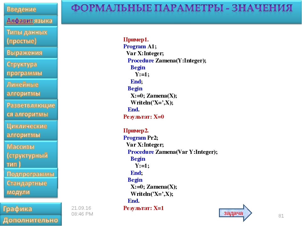 * Пример1. Program A1; Var X:Integer; Procedure Zamena(Y:Integer); Begin Y:=1...