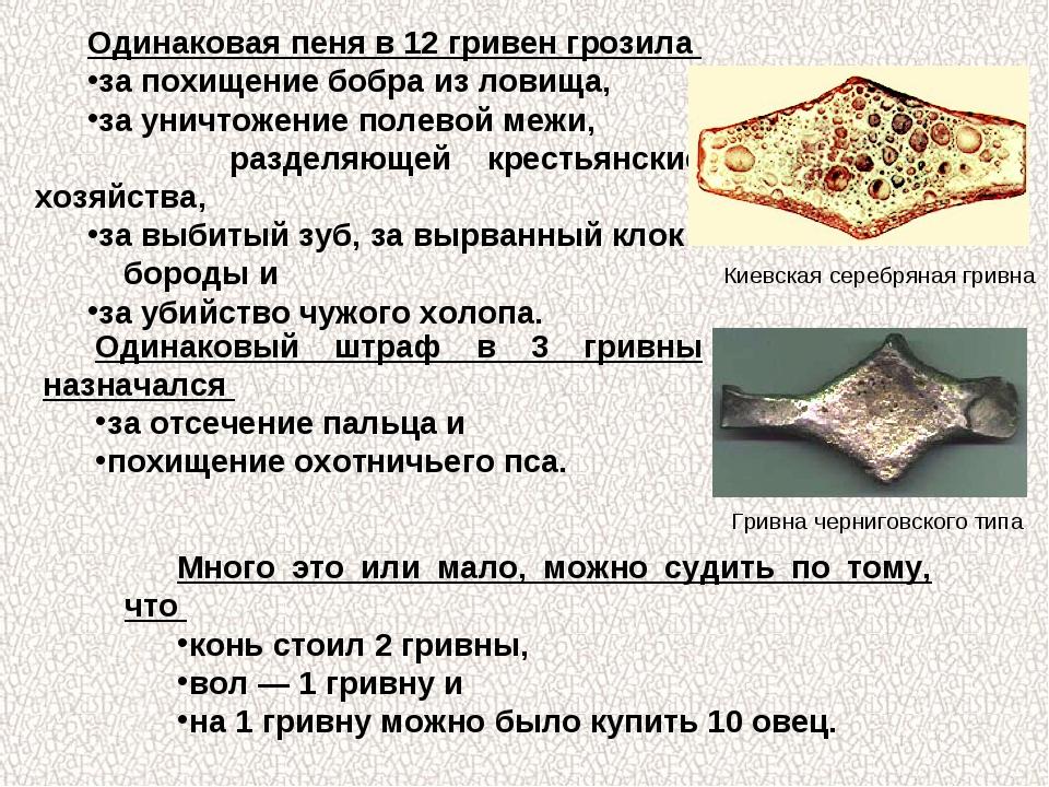 Одинаковая пеня в 12 гривен грозила за похищение бобра из ловища, за уничтоже...